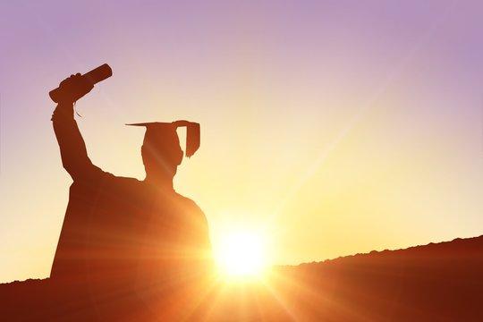 Composite image of silhouette of graduate