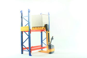 Accident of Electrical forklift and rack isolated on a white bac