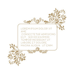 Border with classic floral decorative pattern. Template for greeting cards, invitations, menus, labels. Graphic design page.