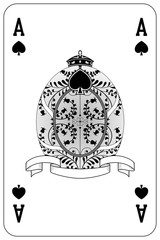 Poker playing card Ace spade