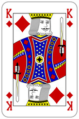 Poker playing card King diamond