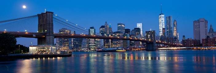 Waterfront and Skyline of New York City at Night