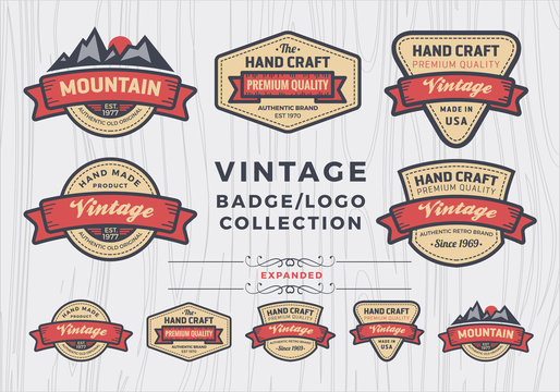 Set of vintage badge/logo design, retro badge design for logo, banner, tag, insignia, emblem, label element