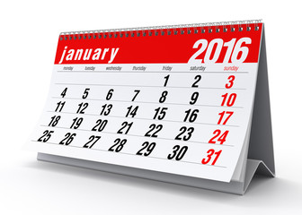 January 2016 Calendar. Isolated on White Background. 3D Renderin