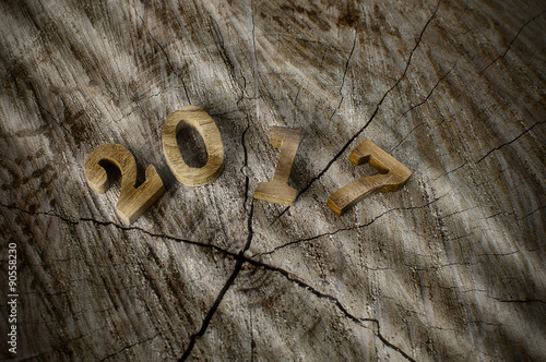 happy new year 2017 nature concept and wood number idea