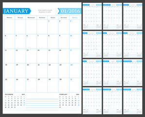 Monthly Calendar Planner for 2016 Year. Vector Design Print Template with Place for Notes. Week Starts Monday. Portrait Orientation. Set of 12 Months