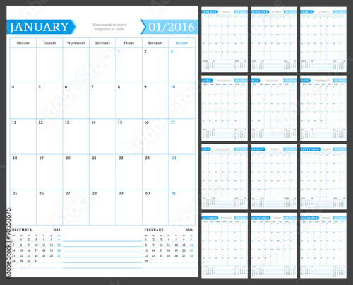 Monthly Calendar Planner For 2016 Year Vector Design Print Template