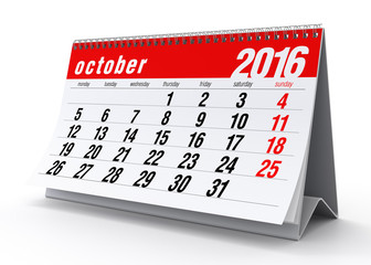 October 2016 Calendar. Isolated on White Background. 3D Renderin