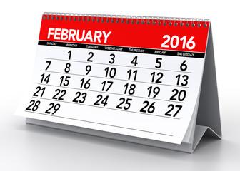 February2016 Calendar. Isolated on White Background. 3D Renderin