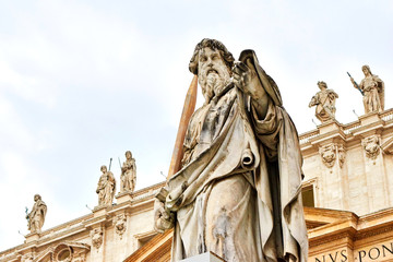 Statue of St. Paul outside the basilica of St. Peter.