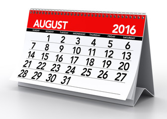 August 2016 Calendar. Isolated on White Background. 3D Rendering