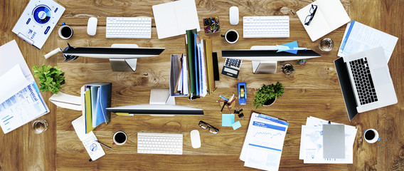 Messy Office Contemporary Workplace No People Concept