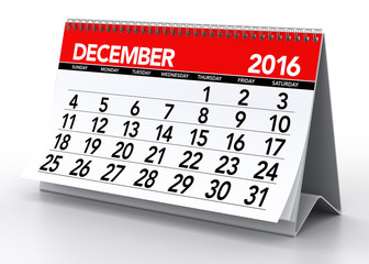 December 2016 Calendar. Isolated on White Background. 3D Renderi