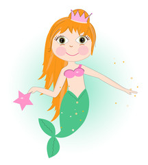 Cute mermaid girl with stars vector background