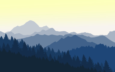 Wonderful sunset in the blue mountains.Vector illustration.