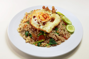 Fried rice with pork on dish