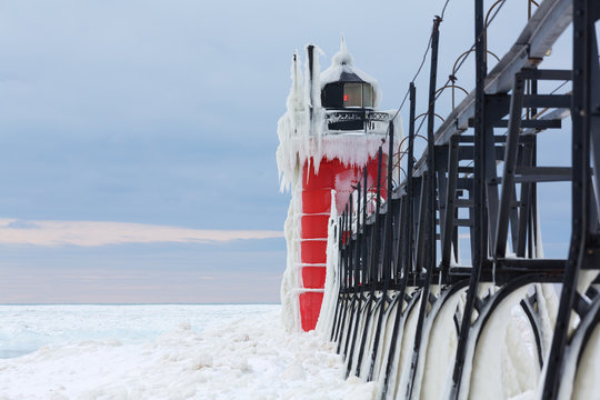 South Haven Pier Lighthouse Frozen in Ice - South Haven Michigan