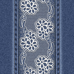 Jeans background with white floral tape.