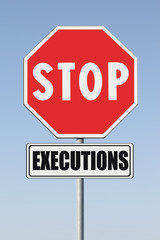 Stop death penalty written on road sign - concept image