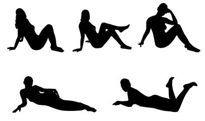 Woman silhouette set, lying, sitting