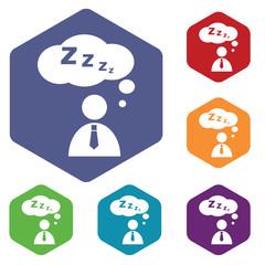 Sleeping person icon, hexagon set