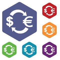 Dollar-euro exchange icon, hexagon set