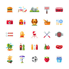Set of flat design barbecue, summer picnic icons and