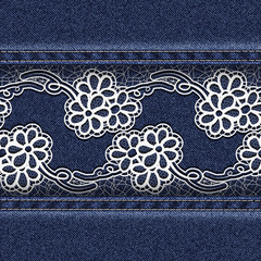 Denim background with white lace at the center.