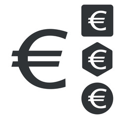 Euro icon set, monochrome