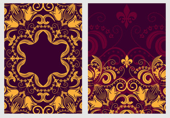 Set of stylish template for design invitations and greeting cards. Flower elegant pattern mandala in Damascus style.