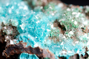 rosasite and calcite mineral sample