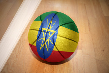 basketball ball with the national flag of ethiopia