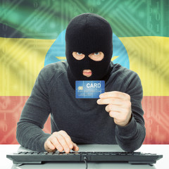 Concept of cybercrime with national flag on background - Ethiopi