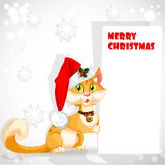 Cute cat in Santa's hat holding a banner congratulating