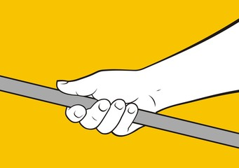 hand holding rod