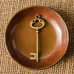 vintage key in plate
