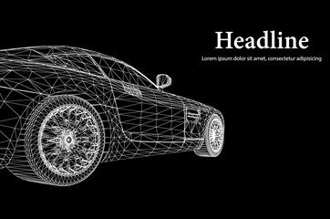 Abstract Creative concept vector background of 3d car model