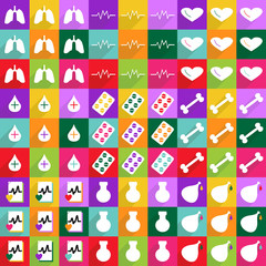 Set of flat icons with shadow and modern design medicine