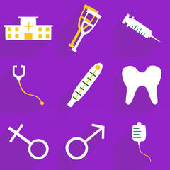 Web icons modern design for mobile shadow, icon set medical