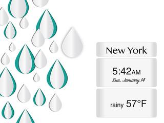 Wetter Infografik mit Regentropfen Symbolen und Textfeld