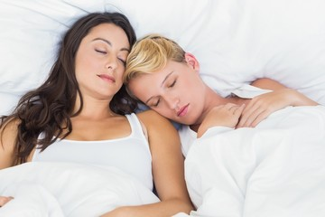 Sleeping homosexual couple cuddling