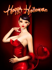 Halloween greeting card with cute devil