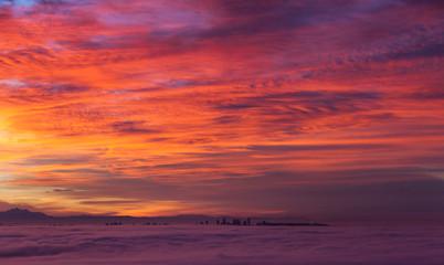 Poster Crimson sunrise and morning glow