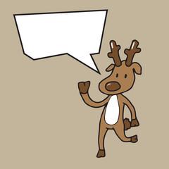 Christmas reindeer speech balloon