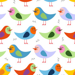 Seamless pattern of colorful birds. Vector background for fun ch