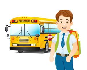 cartoon illustration of schoolboy and school bus. vector