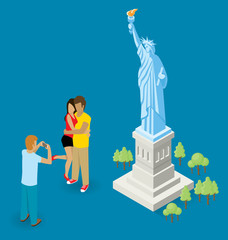 Couple Making Selfie Near The Statue of Liberty in USA