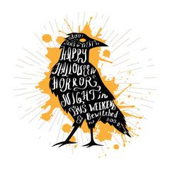 Halloween retro hand lettering poster.