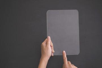 futuristic transparent tablet mock up