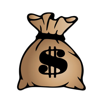 Brown money bag icon with dollar sign isolated on white background. Vector illustration.
